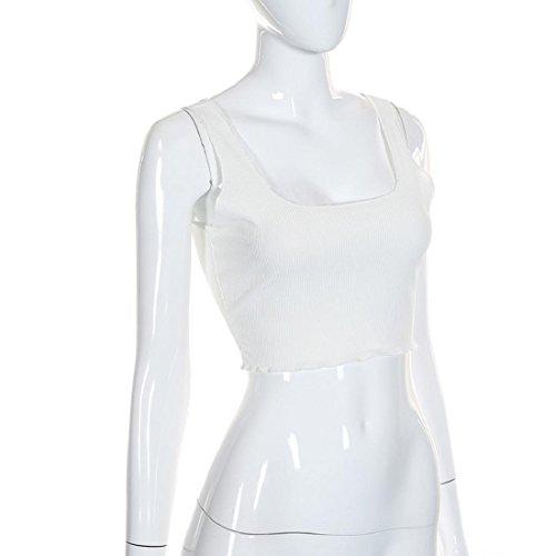 Culater® Femmes Chic Sans manches Crop Tops Débardeur Débardeur Chemisier T-shirt Blanc