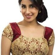 RAMAPIR FASHION Women's Un-Stitched Blouse Maroon Golden Designer Net Blouse Material Material Blouse pic