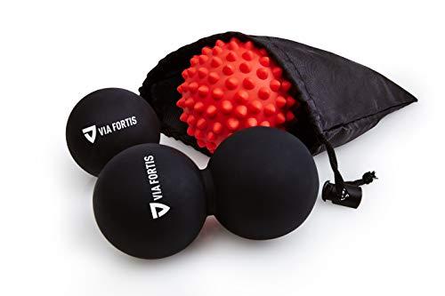 VIA FORTIS Premium Massageball Set inkl. Faszienball, Duoball, Igelball & Tasche - Zur Selbstmassage und Behandlung von Triggerpunkten bei Verspannungen