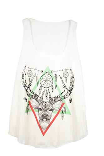 Camiseta SIN Mangas para Mujer - Ciervo - ESTYLO Etnico - atrapasueños - Animal - Dear Dreamcatcher Print Woman Tank-Top