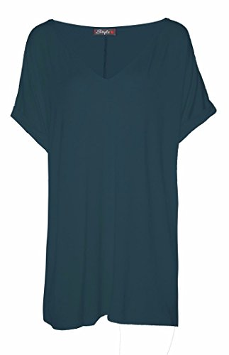 FK Styles da donna, collo con V Baggy oversize t-shirt top Teal