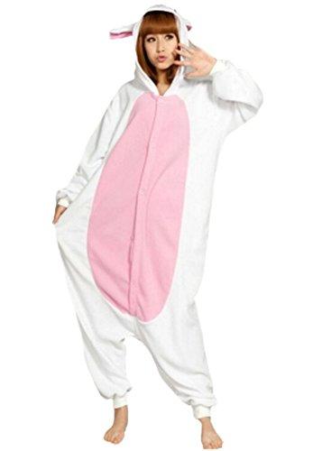 Onesies mit Kapuze Erwachsene Unisex Cospaly Schlafanzug Halloween Kostüm Weiß Kaninchen Geeignet für Hohe 160-175CM (Genie Halloween-kostüm Für Erwachsene)