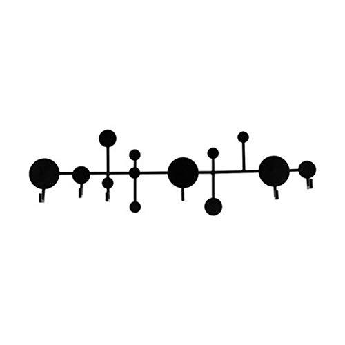 JIAYING Wandgarderobe Regal, Haken Rack, dekorative hängende Lagerregal, mit praktischen Haken, für Flur, Bad, Wohnzimmer (schwarz, weiß) (Color : Black)