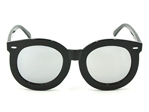 CoolChange Große Sonnenbrille im Audrey Hepburn Style, mit Schwarzem Kunststoffgestell und verspiegelten Gläsern