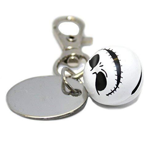 Graviert / Personalisiert Metall Gespenstisch Halloween Glocke Schlüsselanhänger in Velvet Geschenk Tasche E1