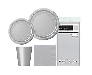 Unique Party- Party Kit, Color plata, pack de 1 (63828)