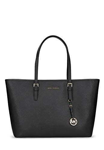 Michael Kors Damen Jet Set Travel Saffiano Leather Top-Zip Tote Henkeltaschen, Schwarz (Black 001), 39x30x15 cm