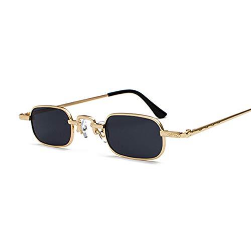 HUWAIYUNDONG Sonnenbrillen,Retro Small Square Metal Steampunk Sunglasses Women Men Fashion Design Vintage Sunglasses Goldgray