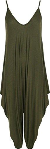 Frauen Damen Plain ärmel Cami Baggy Strapy Body Harem Jumpsuit Playsuit Lagenlook Top-Kleid plus Größe XL XXL XXXL 36 38 40 42 44 46 48 50 52 54, Olive-Green, 52/54 (Frauen-kleider Größe Plus)