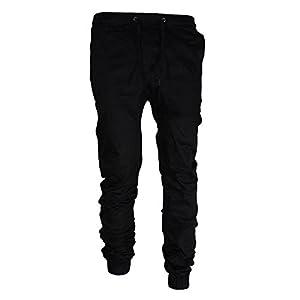 Hongxin Männer Freizeit Overalls Bequeme dünne Hose Elastische Taille Kordelzug Sporthosen Mit Tasche schwarz/grau / Khaki/Juni grün