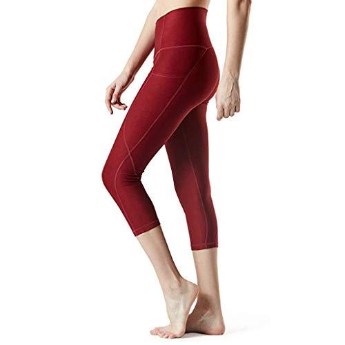 KIMODO® Damen Hohe Taille Hüfte Gym Fitness Yogahosen Sieben Punkte Laufhose Einfarbig Sommer Hose Freizeithose