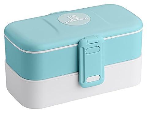 Boîte à lunch   Bento Box   Contenant pour aliments, 2 compartiments séparés avec couverts en acier inoxydable inclus (Bleu)