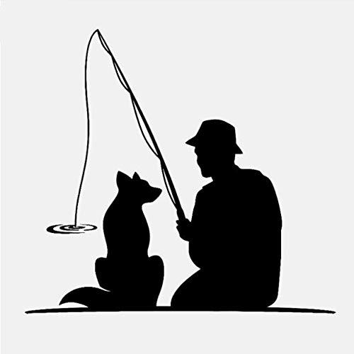 Chi Wall Sticker 60 cm * 54,5 cm Mode Fischer Mit Hund Haustier Angelrute Decor Wandaufkleber Abziehbilder PVC