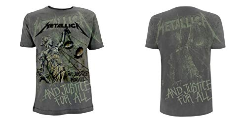 Metallica ... And Justice For All - Neon Backdrop Camiseta Gris...