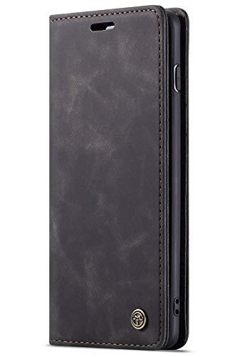 Handyhülle, Premium Leder Flip Schutzhülle Schlanke Brieftasche Hülle Flip Case Handytasche Lederhülle mit Kartenfach Etui Tasche Cover für Samsung Galaxy S10, S10 Plus, S10e -