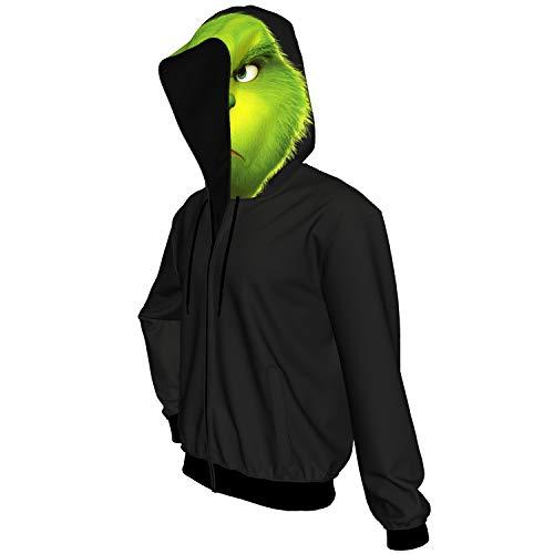 DealTrade Grinch Hoodie Kostüm Herren Reißverschluss Kapuzenpullover Jacke Sweatshirt Cosplay Kleidung Erwachsene & Teens Weihnachten Jumper