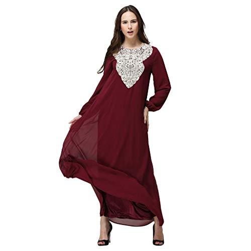 Storerine Frauen Langarm,Doppelschicht, Lose Version, kein Gürtelkleid langes Maxikleid Dubai-ethnisches Patchwork Kleid Islam Abaya Kaftan Moslem Rock