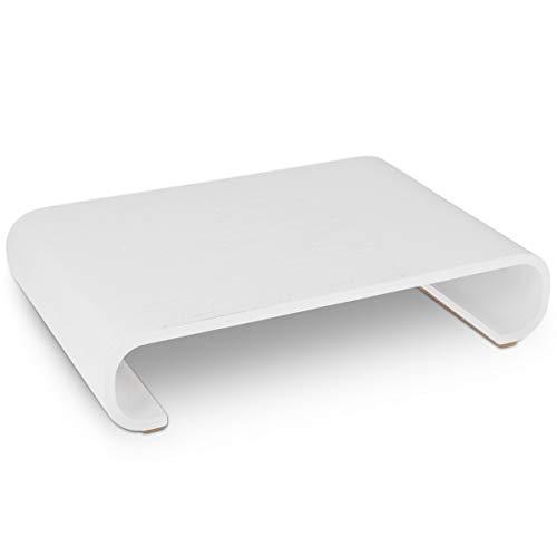 Navaris Bildschirm Holzständer TV Ständer - Computer Tisch Schreibtisch Monitorständer Bank - Schreibtischaufsatz aus Eichenholz in Weiß (Weißes Podest, Beistelltisch)