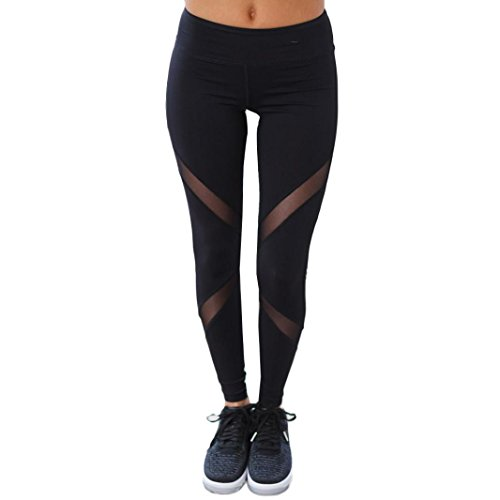 Bluester Women High Waist Sexy Skinny Leggings Patchwork Mesh Push Up Yoga Pants (M, Black)