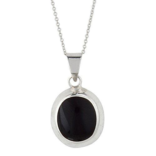 Silverly Frauen 925 Sterling Silber Schwarz Simulierte Onyx Oval hängende Kettenhalskette, 46 cm