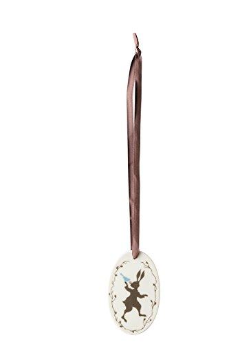 Hutschenreuther Porzellan-Anhänger Taupe oval/7, 5 x 4, 5 cm Ei, Grau, 7.5 x 4.5 cm