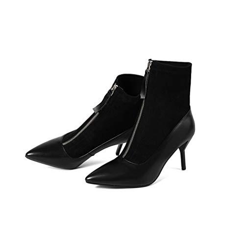YAN Damen Ankle Boots, Winter Sexy Spitzen Stiletto Leder Leder + Simulation Leder Stretch SAMT Stiefel (Farbe : EIN, Größe : 39) -