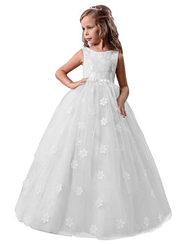 NNJXD Mädchen-Kind-Ballkleid Tulle Prinzessin Hochzeit Partei-Abschlussball-Kleid-Größe (140) 8-9 Jahre Weiß