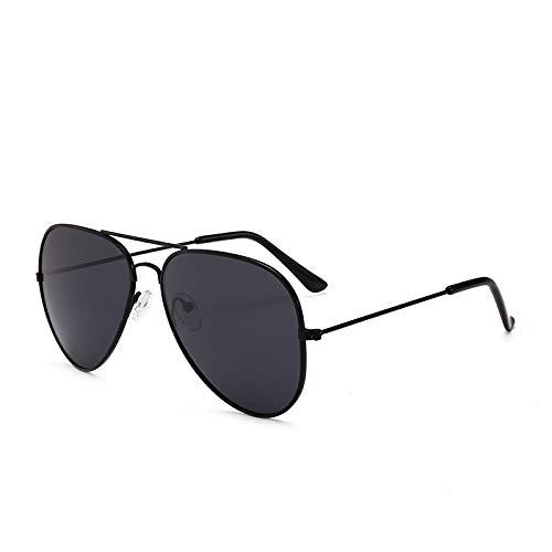 CFLFDC Sonnenbrillen Sonnenbrille Weibliche Gezeitenmänner Fahren Polarisierte Sonnenbrille Männer-metallrahmen Ultra Light Schwarz gerahmte schwarze Grauscheiben (polarisiert)