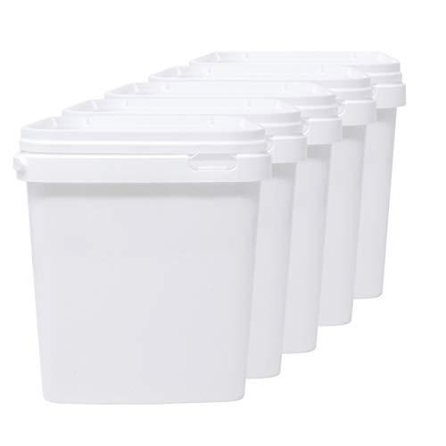 D' Luxy Pack 5 Seau en Polypropylène Alimentaire, 5 L (21x19 cm). Recyclabes, 100% Libres de BPA.