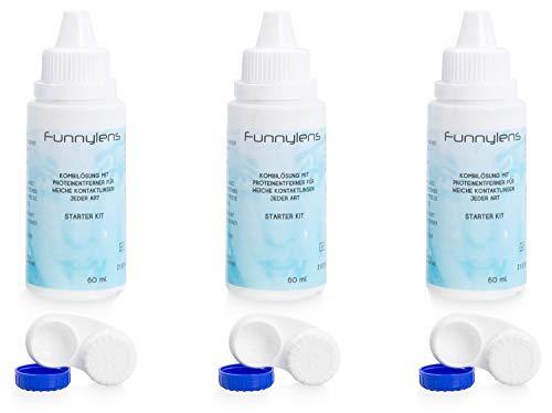 Meralens Kombilösung 3x 60ml Kontaktlinsenflüssigkeit für weiche Kontaktlinsen - All In One Reisegröße Pflegemittel + 3 Kontaktlinsenbehälter