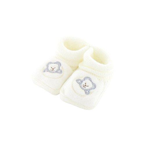 Chaussons pour bébé 0 à 3 Mois blanc - Motif Ourson Lune