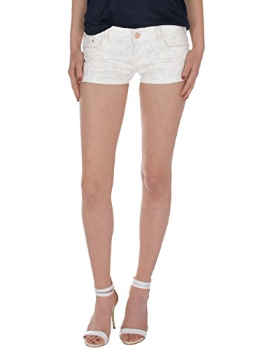 Fraternel Damen Hose Shorts Glitzer Hotpants Weiss S / 36 (Low Pocket Five Shorts Rise)