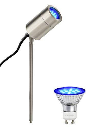 Long Life Lamp Company GU10 réglable extérieur LED Jardin en Acier Inoxydable Lumière de Spike, Bleu
