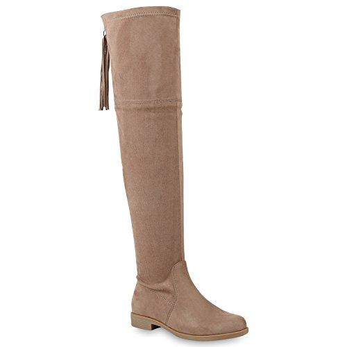 Stiefelparadies Damen Overknees Fransen Stiefel Zipper Langschaft Leder-Optik Schuhe 146535 Khaki Quasten 37 Flandell