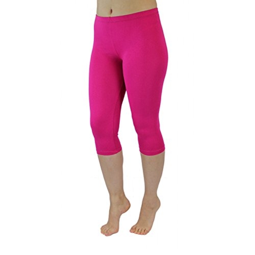 Blickdichte Leggings für Damen Capri Hose Leggins Bunt aus Baumwolle 3/4 Länge, Farbe: Pink, Größe: 48-50