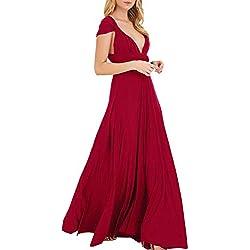 EMMA Mujeres Falda Larga de Cóctel Vestido de Noche Dama de Honor Elegante sin Respaldo