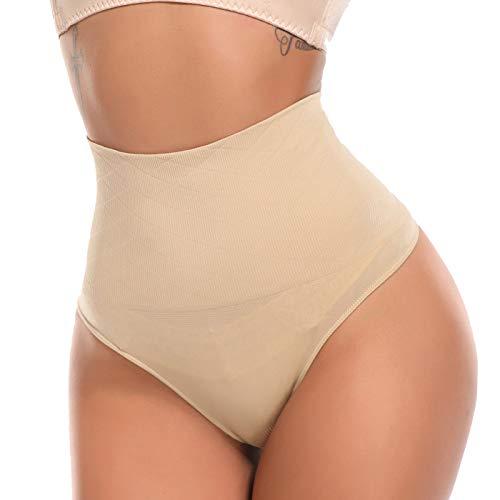 SLIMBELLE Damen Bauch Weg Mieder String Tanga Slip Figurenformend Miederpants Shapewear Unterwäsche, 1 Beige Tanga, Gr.- L≈DE 38