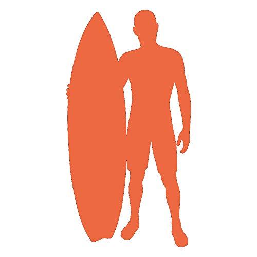 Ajcwhml Surfer y Tabla de Surf Silueta Surf Etiqueta de la Pared Deportes Art Deco Apliques 66cm x 126cm