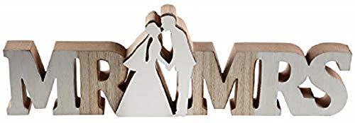Deko-Aufsteller MR & MRS/Holz-Schrift-Zug Schild braun & weiß - Deko-Figur - Geschenk-Idee Geld Hochzeit-s-deko-Ration Candy-Bar Tisch-Dekoration Accessoire-s & Zubehör (Hochzeit Dekoration Ideen Tisch)
