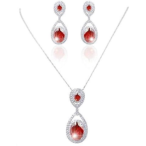 EVER FAITH® Chunky ovale colore rubino zirconi collana orecchini set di cristallo austriaco Silver-Tone