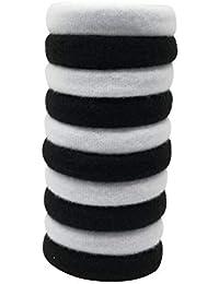 Evogirl Rubberbands Soft & Smooth Elastic Cotton Stretch Hair Ties No Metal Black & White, Medium, For Women/Girls...