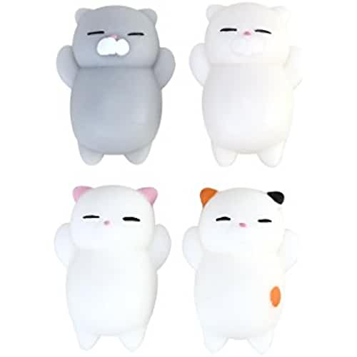mini kawaii miniaturas kawaii TOYMYTOY Juguetes de levantamiento lentos de la historieta 4Pcs mini juguetes lindos del gatito de los bollos del relámpago de la tensión