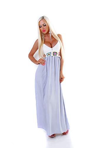 OSAB-Fashion 4526 Damen Maxikleid Sommerkleid Gesmokt Häkeltop Langes Kleid Maxi Retro -