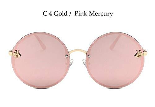 Sonnenbrille Vintage Runde Sonnenbrille Frauen/Männer Trendige Spiegel Brille Oversize Biene Sonnenbrillen Rosa Brille Uv400 Gold Pink Mercury
