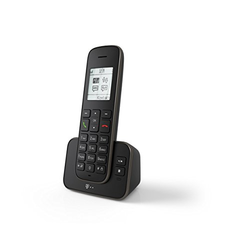 Telekom Sinus A 207 schwarz Schnurlostelefon mit AB, analoges DECT Telefon mit Anrufbeantworter