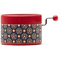 Caja de música manual roja con flores con la melodía Canon de Pachelbel. El regalo ideal para los amantes de la música. Perfecto para coleccionistas. Artesanal