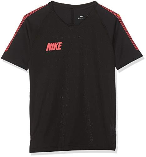Nike Damen Kurzarm Shirt Miler Crew T, Black/Ember Glow, M (Nike-crew-t-shirt)