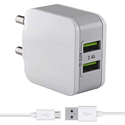 Dual Port 2.4 Amp Mobile Charger for Panasonic T40 / Panasonic T 40 Charger Fast Wall Adapter with Micro USB Charging Cable (White)