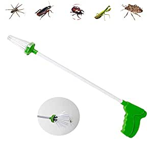 leegoal Bug Catcher, Household Practical Spider Insect Catcher Pest Control with 25.6inch Handle for Spiders, Wasps, Scorpions, Cockroaches, Stink Bugs, Mantis, Beetle, Grasshopper (Green)