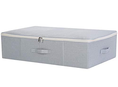 Unter dem Bett Kleidungsstück Aufbewahrungskorb mit Dreiseiten-Reißverschlussabdeckung, Large Size & Folding Design, Anti-Schimmel-Organizer-Container, Hellgrau (Kleidungsstück Boxen)